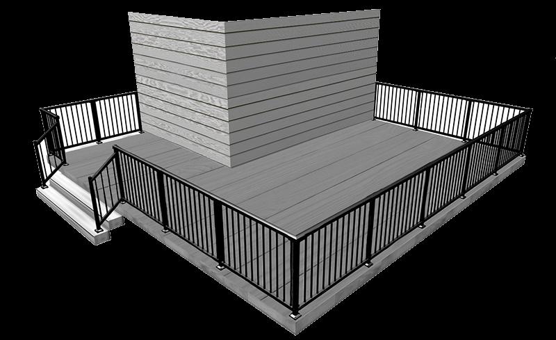 Peak Railing Designer - 3D Deck Image