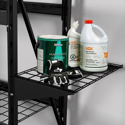 husky metal storage shelf yard tool rack