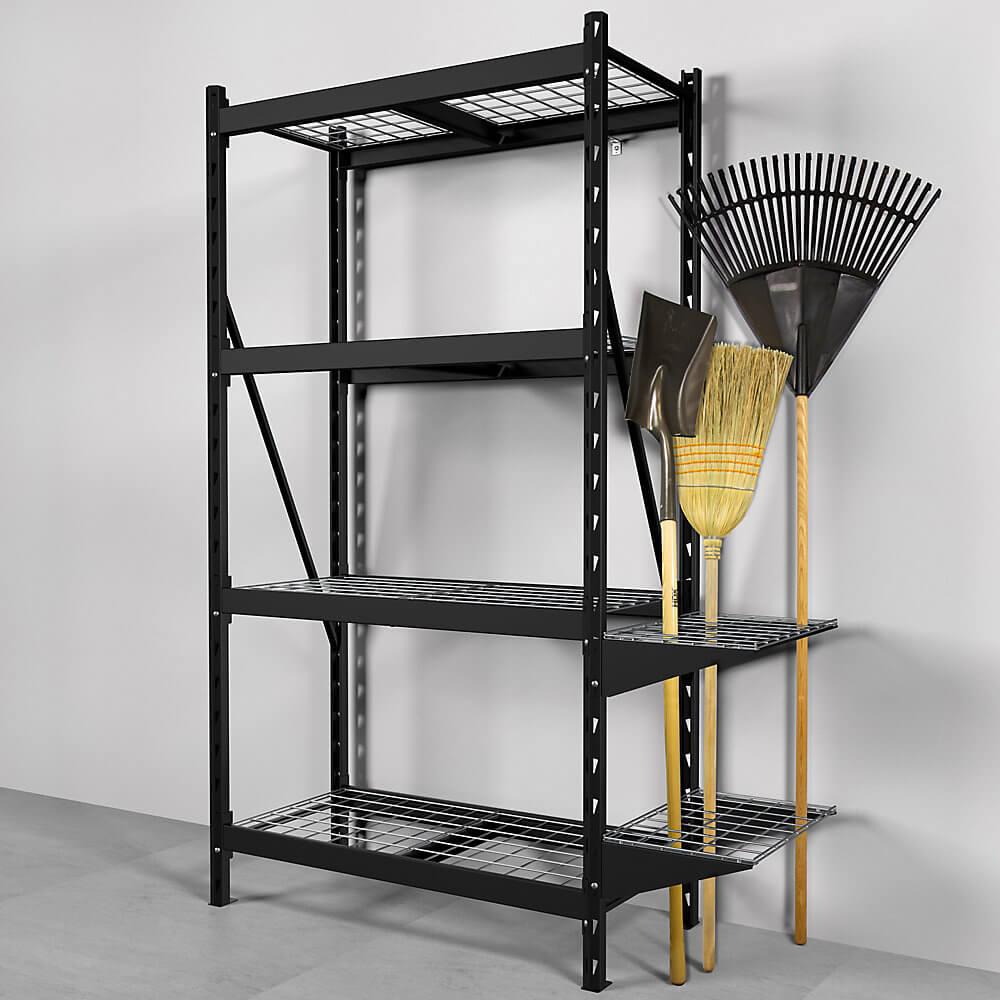 husky metal storage shelf yard tool rack