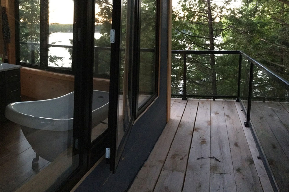 Custom Railing with Large Glass Panels